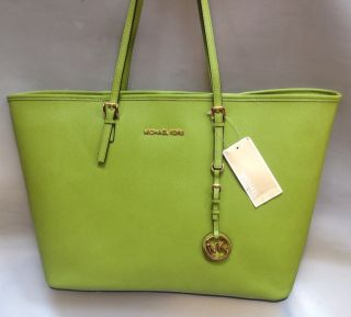 MICHAEL KORS Jet set Medium Travel Tote Lime Green Bag Purse New