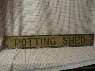 Primitive Vintage Garden Wood Potting Shed Sign Shabby Old