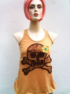 Flower Power Skull Baby Rockabilly Tank Top Shirt s M