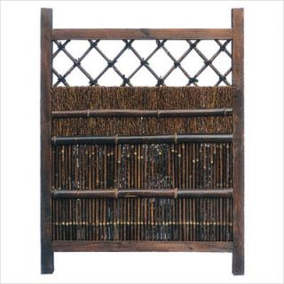 Japanese Dark Stain Wood and Bamboo Garden Gate WD96212