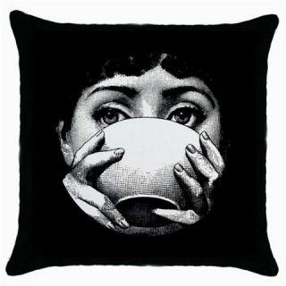 Fornasetti Bowl Black Throw Pillow Case