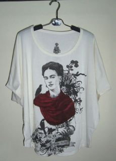 Frida Kahlo Mexican Artist Oversize Top Batwing TShirt Tunic Poncho in