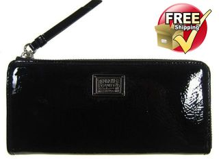NWT Coach Poppy Patent Leather Slim Zip Wallet in Onyx 46098
