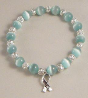 Cervical Ovarian Cancer Awareness Bracelet w Charm OCS