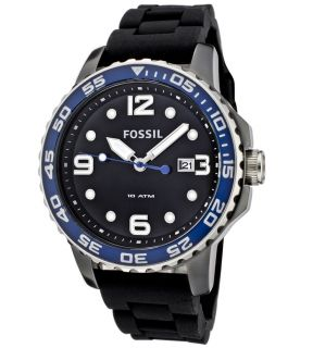 Fossil CE5004 Mens Black Ceramic Silicone Rubber Strap Watch