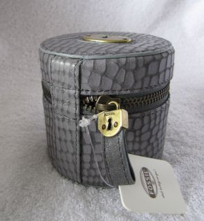 Fossil Jewelry Travel Case Colette Round Blue Grey NWT SL3835485