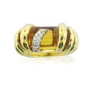 18K Gold de Grisogono Citrine Diamond Ring