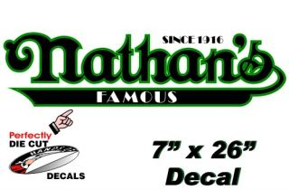 Nathans Famous Hot Dog 7x26 Decal for Hot Dog Cart or Concession
