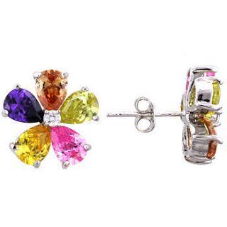 Silvertone Multicolor Cubic Zirconia Stud Earrings