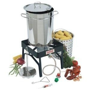 Bayou Classic 9195 32 Quart Stainless Steel Outdoor Turkey Fryer Kit