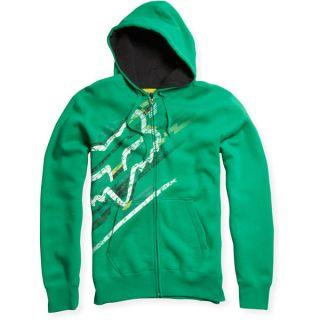 Fox Racing Freeka Zip Hoody Jacket Green White Yellow Black Large LG L