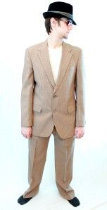 Suit Blazer Jacket Pants 40R 34x32 Brown Gangster Costume