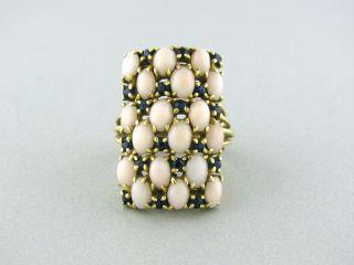 Estate Spitzer Fuhrmann 18K Gold Coral Sapphire Ring
