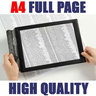 big A4 full page magnifier sheet magnifying glass book maps reading