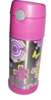 Thermos Funtainer Stainless Steel Barbie Flower Beverage Bottle 12oz