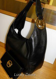 Michael Kors Fulton Shoulder Handbag Bag Hobo Black Leather Medium New