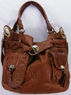 Steven Steve Madden Saddle Brown Leather Slouch Shoulder Tote Purse