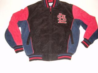 St Louis Cardinals GIII superb suede leather jacket sewn logos letters