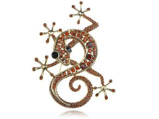 Crystal Rhinestone Gold Tone Gecko Lizard Reptile Animal Pin Brooch