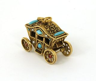 Amazing Vintage 14k Turquoise Pearl Garnet 3D Movable Carriage Charm