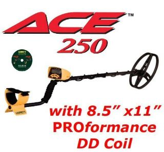 GARRETT ACE 250 Metal Detector with UPGRADED 8 5 x 11 DD Coil DVD Free