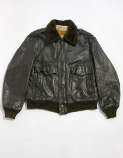 Vintage 80s William Barry Leather Faux Fur Lined G 1 Style Bomber