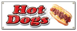Banner Sign Hot Dogs Cart Chicago Wiener Franks Chili Red Hot