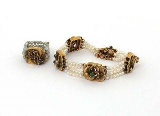 Antique 14k Gems Multi Strand Pearl Bracelet Ring Set