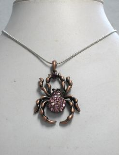 Purple Rhinestone Crystal Spider Halloween Pendant Necklace G70