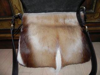 Diane Gail Tan Antelope Hair Fur Leather Cross Body Messenger Bag