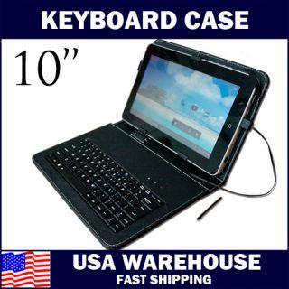 USB Keyboard Leather Case Cover Holder Folio for Archos Arnova 10B G3