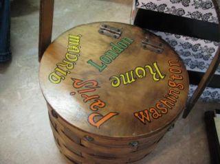 Vtg Gary Gail Wood Wooden Basket Purse Round Box Sweet