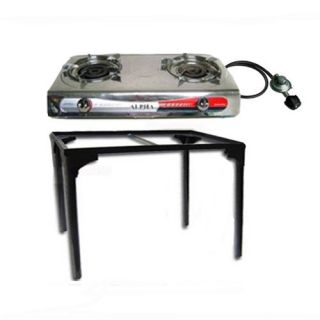 Portable Propane Gas Stove 2 Double Burner Range with S