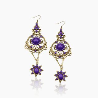 Gallant Retro Copper VTG SW Crystal CZ Gem Cute Flower Dangle Earrings