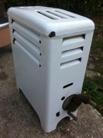 Vintage Antique King White Porcelain Enamel Gas Space Room Heater