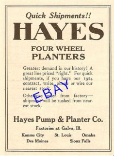 1924 Hayes Four Wheel Corn Planter Ad Galva Illinois
