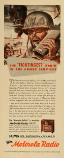 1944 Ad Galvin Motorola Radios Handie Talkie World War II Soldier