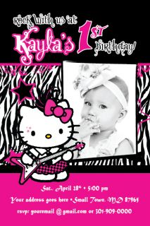 Hello Kitty Zebra Print Punk Rock Star Invitation 1st Birthday Party