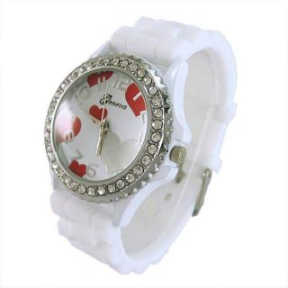 Geneva Heart Crystal Quartz Dial Silicone Women Ladies Girls Wrist