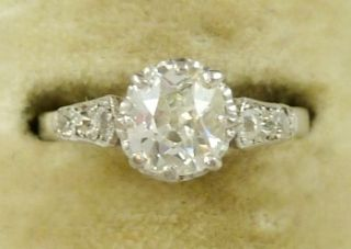 Victorian 1 80ct Old Cut Diamond Solitaire 18ct White Gold Ring