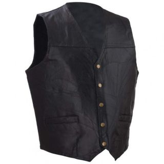 Black Leather Biker Motorcycle Vest Ace of Spades Patch Large