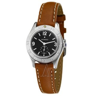 Womens Movado Gentry Sport Watch Black Dial Leather Strap 0604993