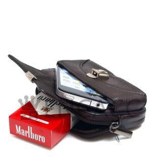 New Mens Genuine Brown Leather Pocket Zipper Waist Packs Pouch Wallet
