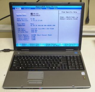 Gateway PA6 M685 E 17 Laptop Notebook 1 66GHz Dual Core DVD RW 1GB