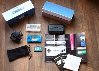 Nintendo Game Boy Micro Blue Boxed 2 Games EUR