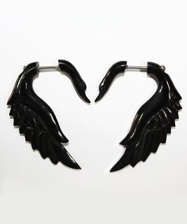 Handmade Bone Horn White Black Swan Wing Fake Gauge Earrings Pair