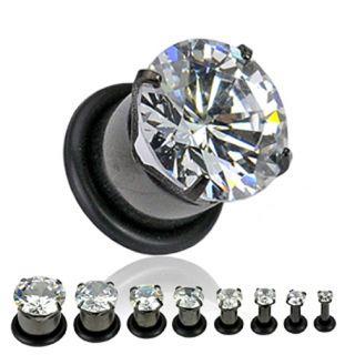 Titanium Large Clear CZ Gem Ear Plugs Piercing Gauges Earrings