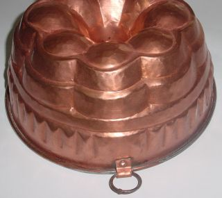 Beautiful Antique French Copper Big Cake Mold 1900 Hammered