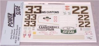 Decal Harry Gant Stan Barrett 33 22 Skoal Mint 1 24