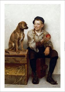 John George Brown Teasing Pup Boy Dog Print New